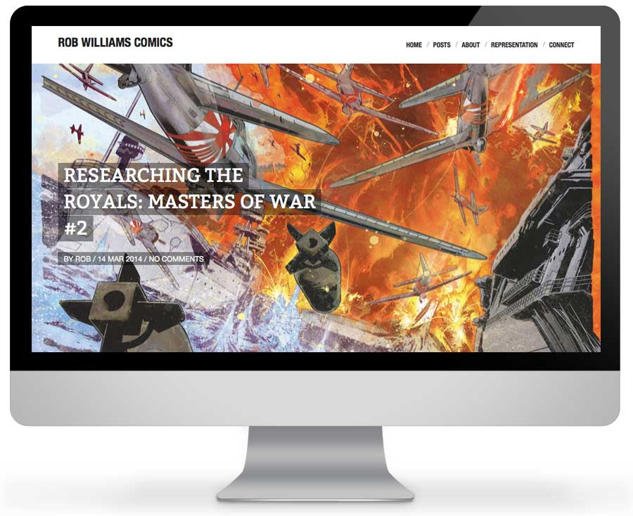 Comic website design for Rob Williams Comics