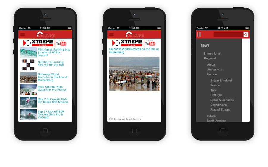 Surfing news app design